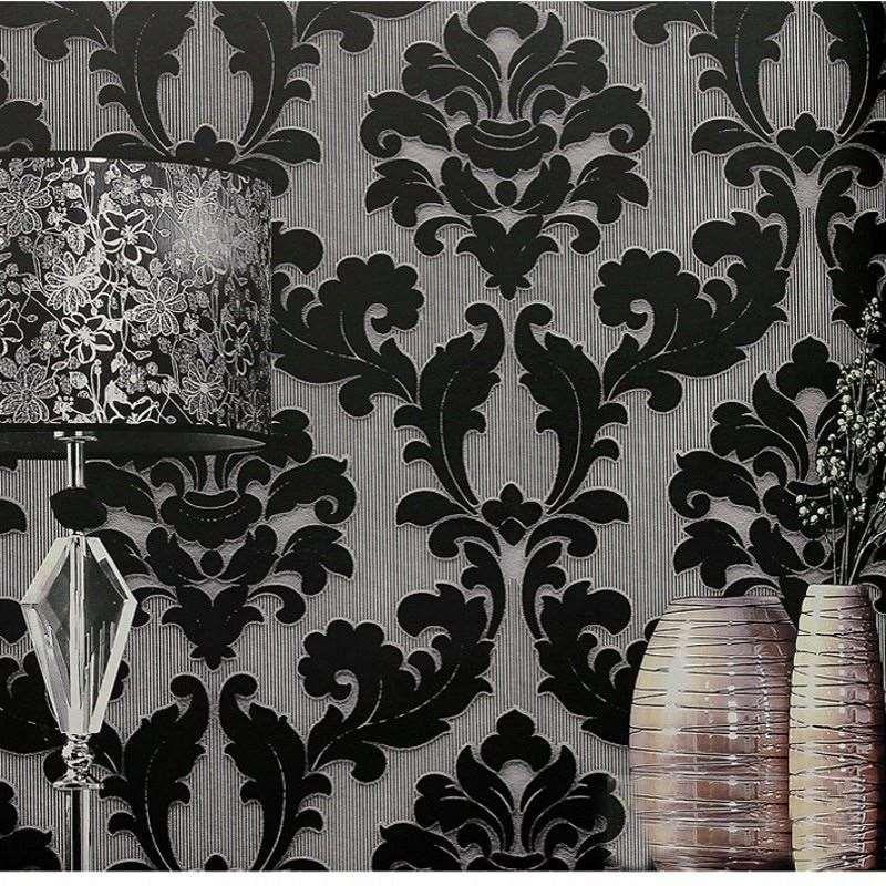 Luxury Classic Damask Wallpaper Velvet Non Woven 3d Embossed