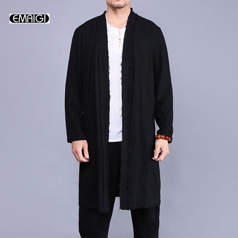 All'ingrosso-2017 nuovi uomini trench coat in cotone stile lino cappotto uomini vintage giacca lunga giacca moda giacca a vento cappotto A321