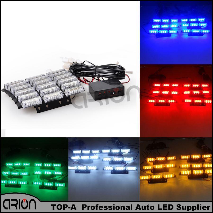자동차 54 LED 12V 파란색 흰색 빨간색 앰버 스트로보 경고 빛 54W 자동차 트럭 라이트 깜박임 소방관 조명 구급차 경찰 램프