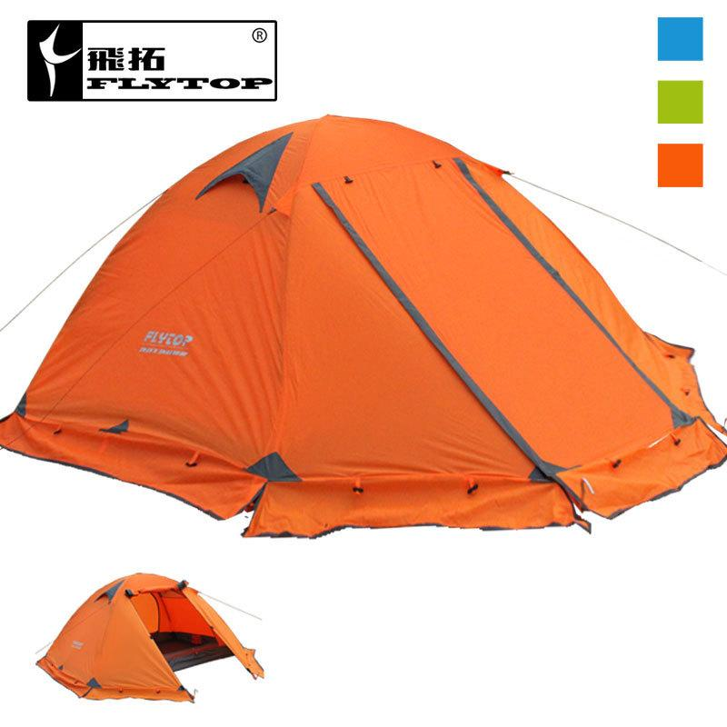 Wholesale- FLYTOP Winter tent 2persons Tourist aluminum pole double layer double door windproof proof professional camping tent 3colors