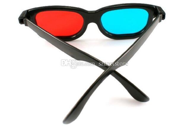 Vetri rossi della struttura di plastica del nero dell'anaglifo anaglifo blu rosso di 500pcs / lot 3D Lo SME libera il trasporto 0001