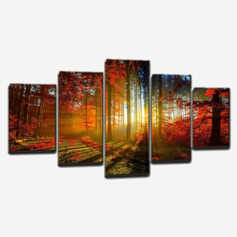 Modern unframed canvas art forest painting landscape canvas wall decor picture for home decoration living room