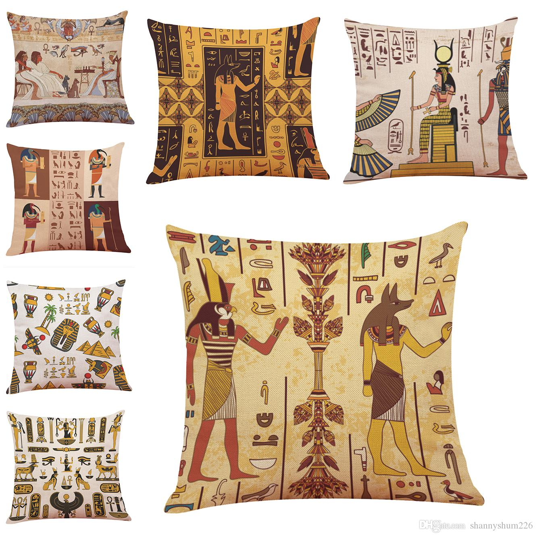 Egiziano Cuscino Illustrator Stile Lino Cuscino Home Office Divano Piazza federa coperture decorative Federe senza inserto
