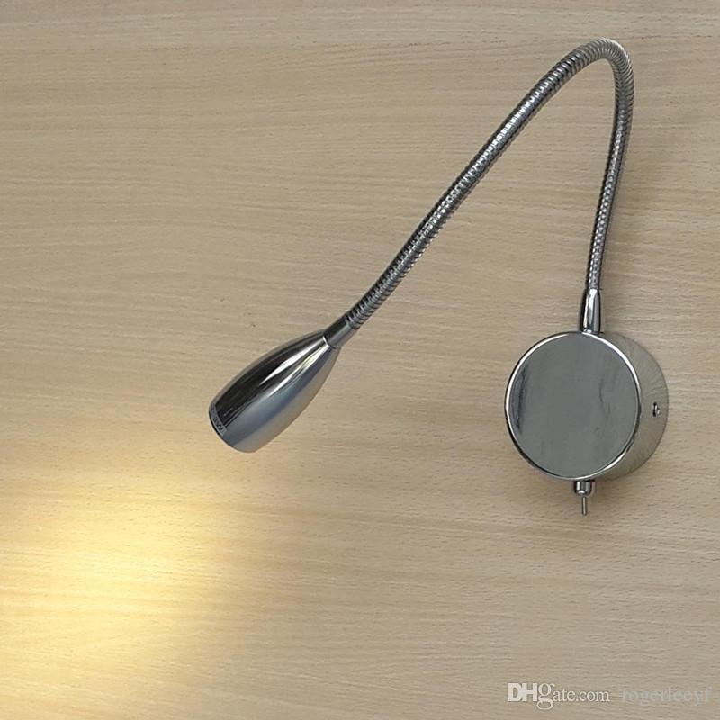 Topoch Minimalizm Lambası LED Işıklar Arabalar için Okuma Sert Kablolu Alüminyum Gövde Esnek Kol Krom Bitirmek Dolly Anahtarı 3 W DC12 / 24 V AC100-240 V