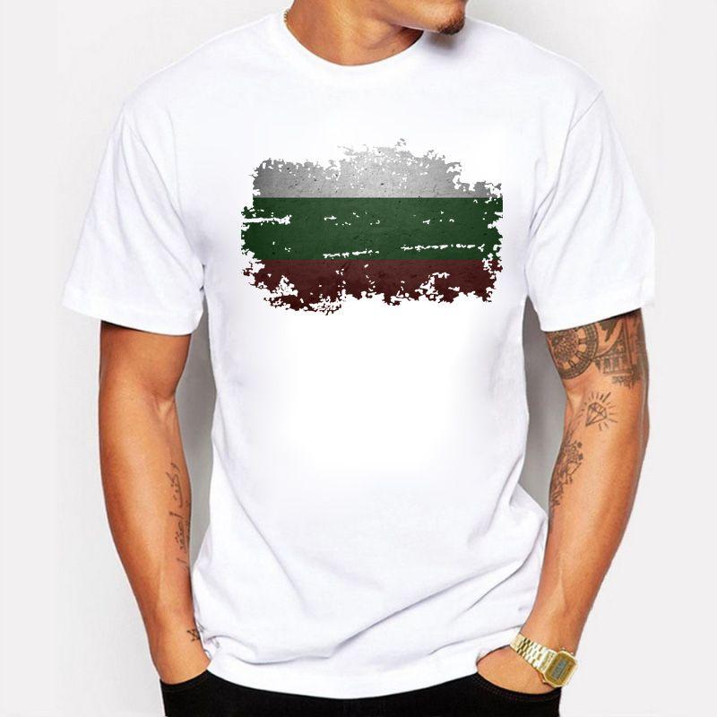 Camiseta de verano de estilo simple para hombres, manga corta, algodón orgánico, bandera de Bulgaria, diseño nostálgico, estilo casual, hombres camiseta