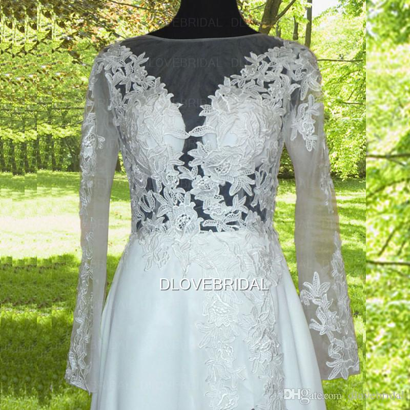 Illusion Long Sleeve Backless Wedding Dress High Quality Long Sleeve High Split Beach Chiffon Bridal Dresses Custom Made Vestios De Novia