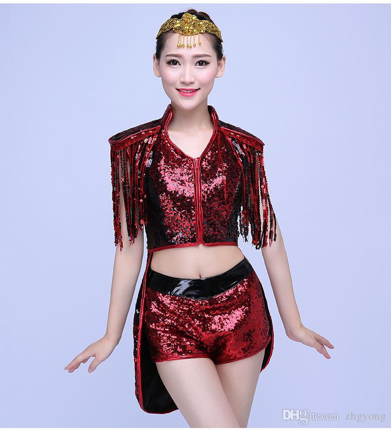 şarkıcı dansçı yıldız gece kulübünde performans göstermek için Sequins Modern dans Caz kulübü Kırlangıç kadın kostüm seksi kostüm
