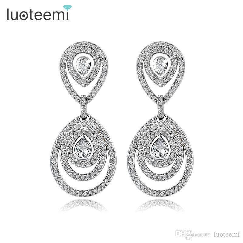 LUOTEEMI Nova Moda Cz Diamante Na Moda Gota de Água Mulheres Geometria Declaração de Jóias Para O Casamento De Noiva Presente Brinco Lustre
