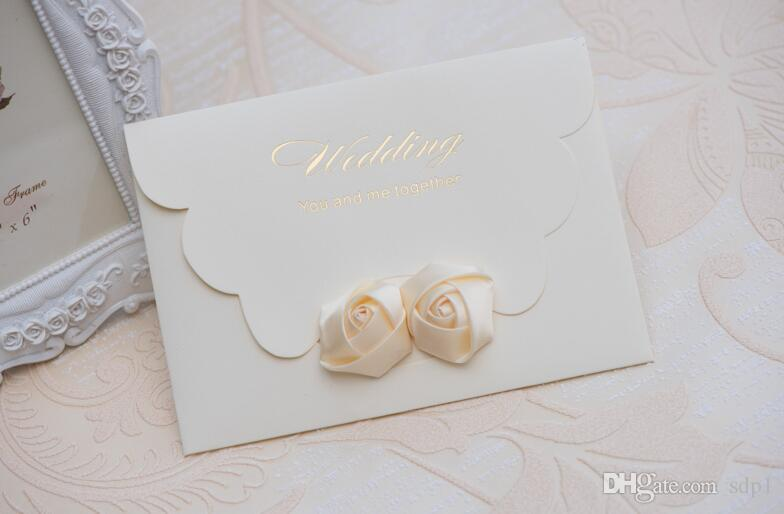 3D White Rose New Arrival Invitation Letter / Fancy Wedding Rose White  Luxury Wholesale Price Custom Wedding Invitation Cards Greeting Card  Messages