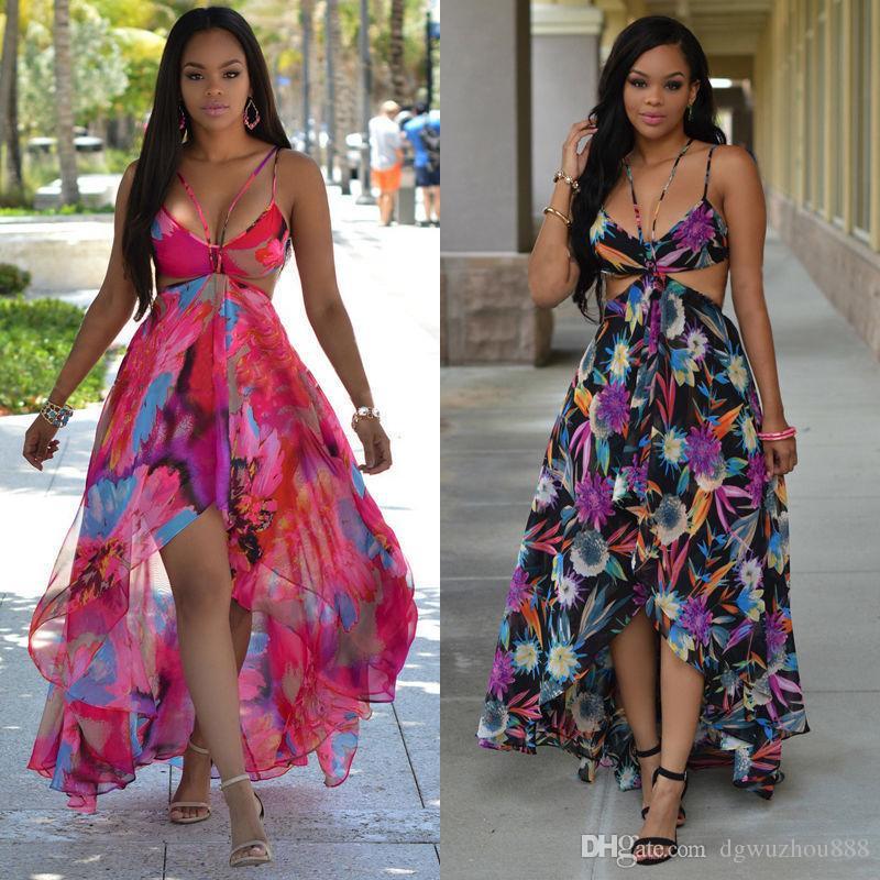 Women\u0027S Bohemian Dress Beach Vacation Dresses Round Chiffon Wrapped Chest  Dress Hanging Neck Exposed Back Strap Skirt Q263 Womens Black Dresses