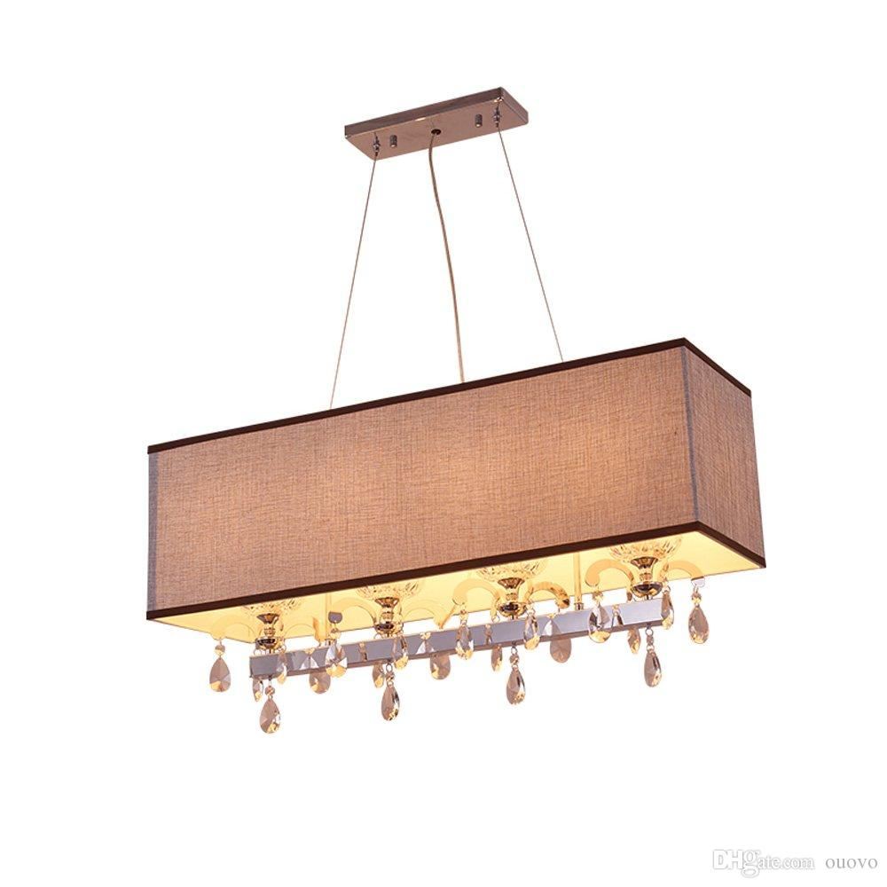 Moderne eetkamer Crystal Rectangle Hanglamp Grijze Stof Lampenkap Kicthen Room Woonkamer Gepolijste Chrome Ketting Hanglamp