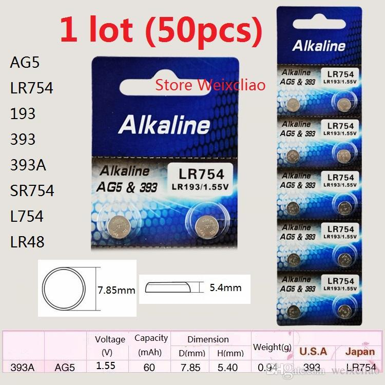 50 sztuk 1 partia AG5 LR754 193 393 393A SR754 L754 LR48 1.55V Przycisk alkaliczny baterie baterii baterii baterii Darmowa wysyłka