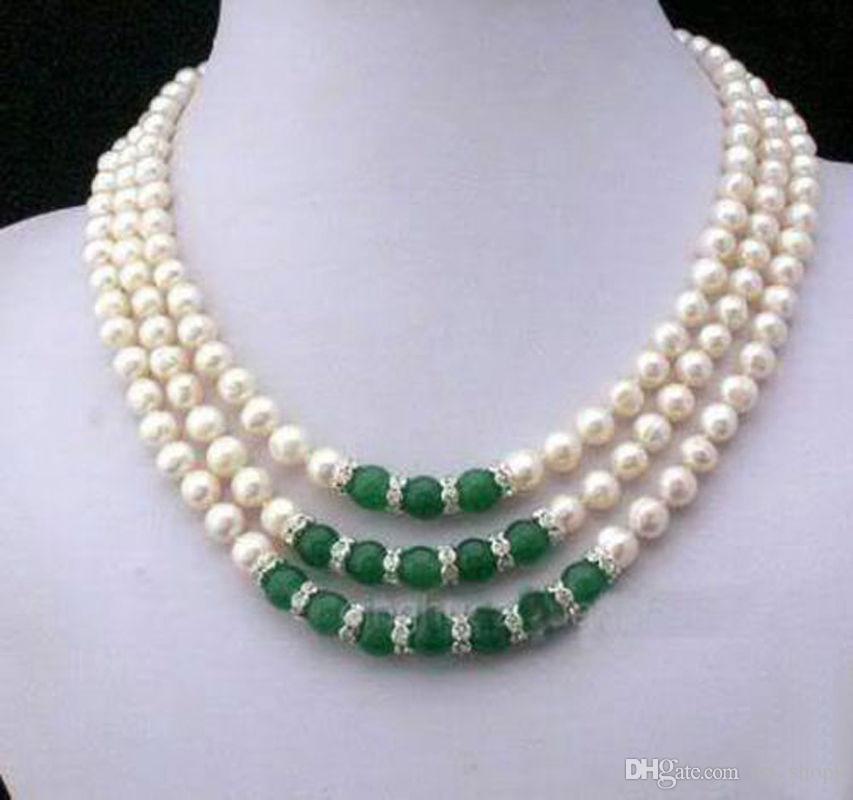 2017 nouveau 7-8MM naturel blanc Akoya culture perle vert Jade main noué collier