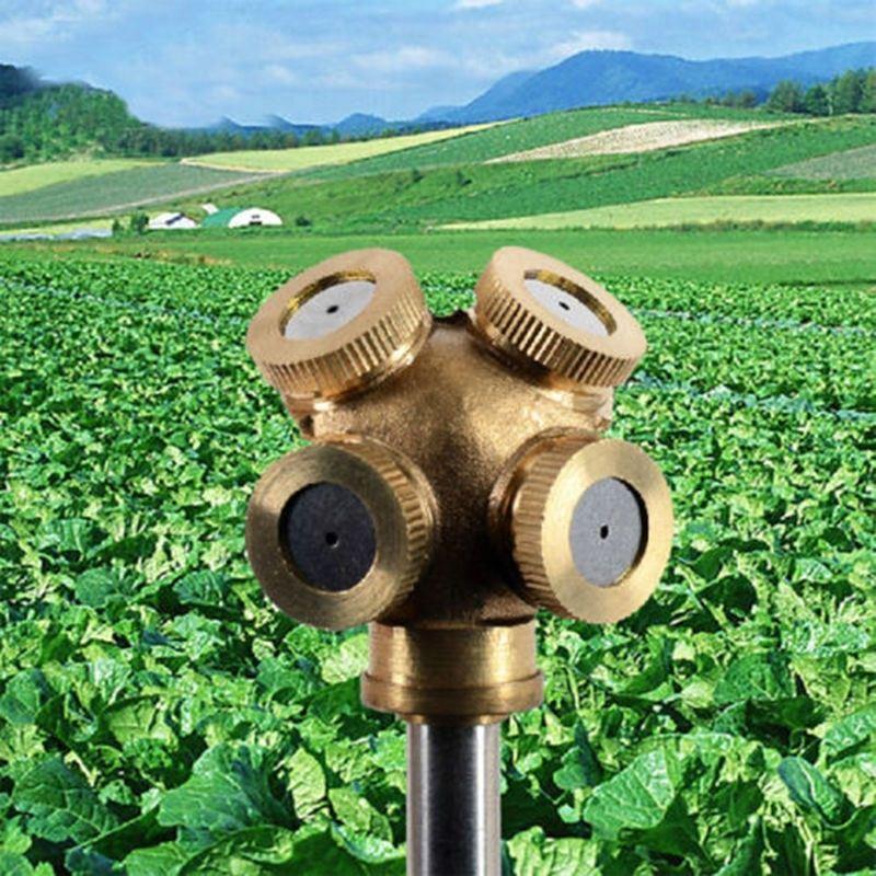Günstigstes 4 Loch Einstellbare Messing Sprühnebel Düse Garten Sprinkler Bewässerung Fitting Home gardern tools