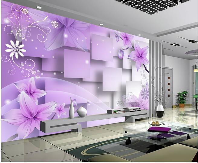 Home Decor Sala de Arte Natural roxo flores mornas TV parede mural 3d papel de parede 3d papéis de parede para tv pano de fundo