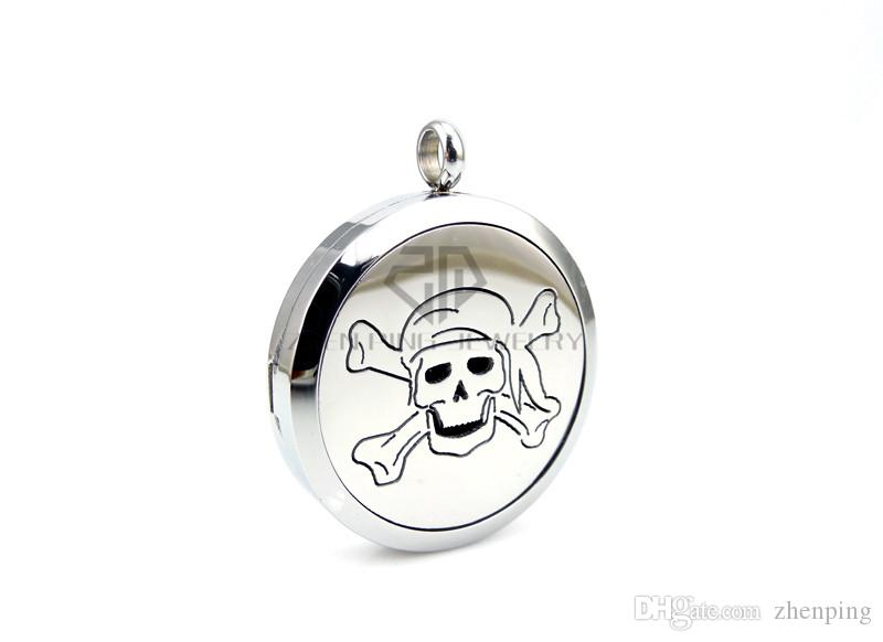 With Chain Round Silver Skull Design (30mm) Stainless Steel Essential Oils Diffuser Locket Pendant Aromatherapy Locket Necklace