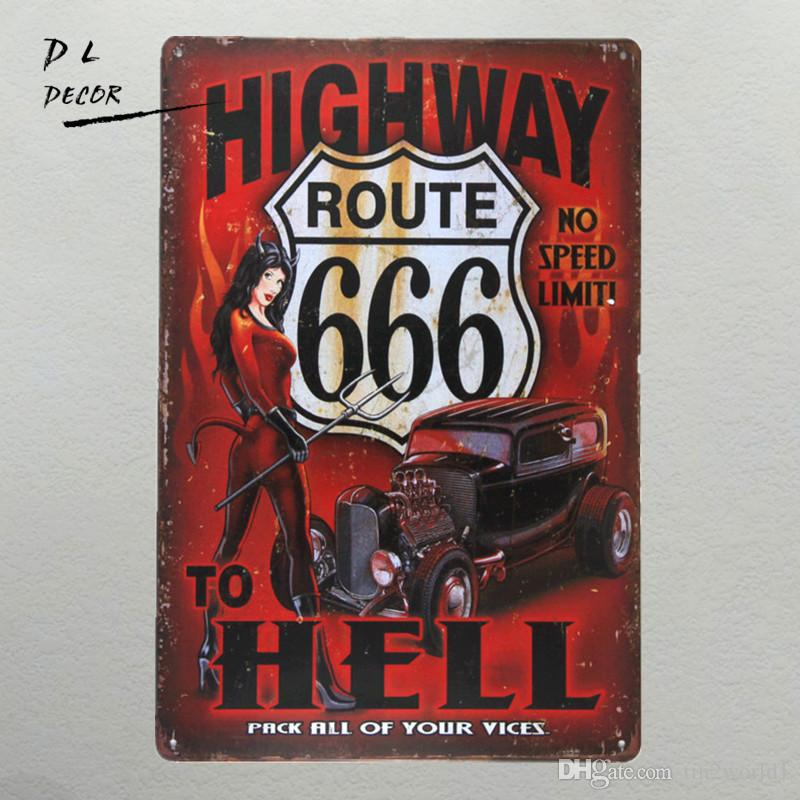 DL-highway to hell Metal Sign vintage crosses wall sticker Home Decor pin up poster antique tray house rules wall art garage Rated