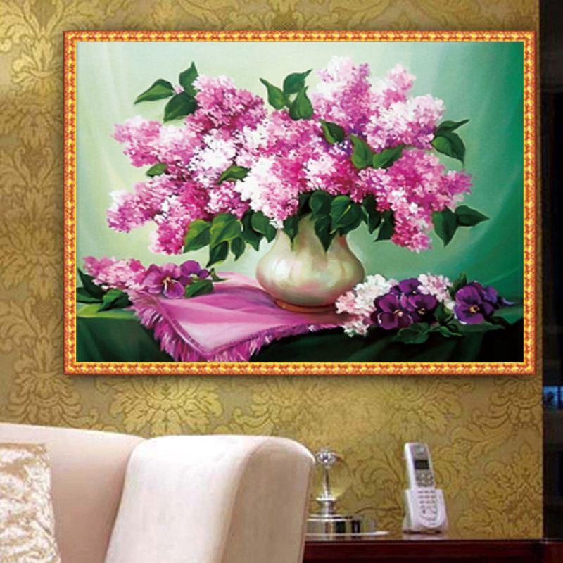 Promotion bricolage Plein 5D diamant Broder pourpre Fleurs diamant rond Peinture Croix Kits de point de diamant Mosaic Home Décoration