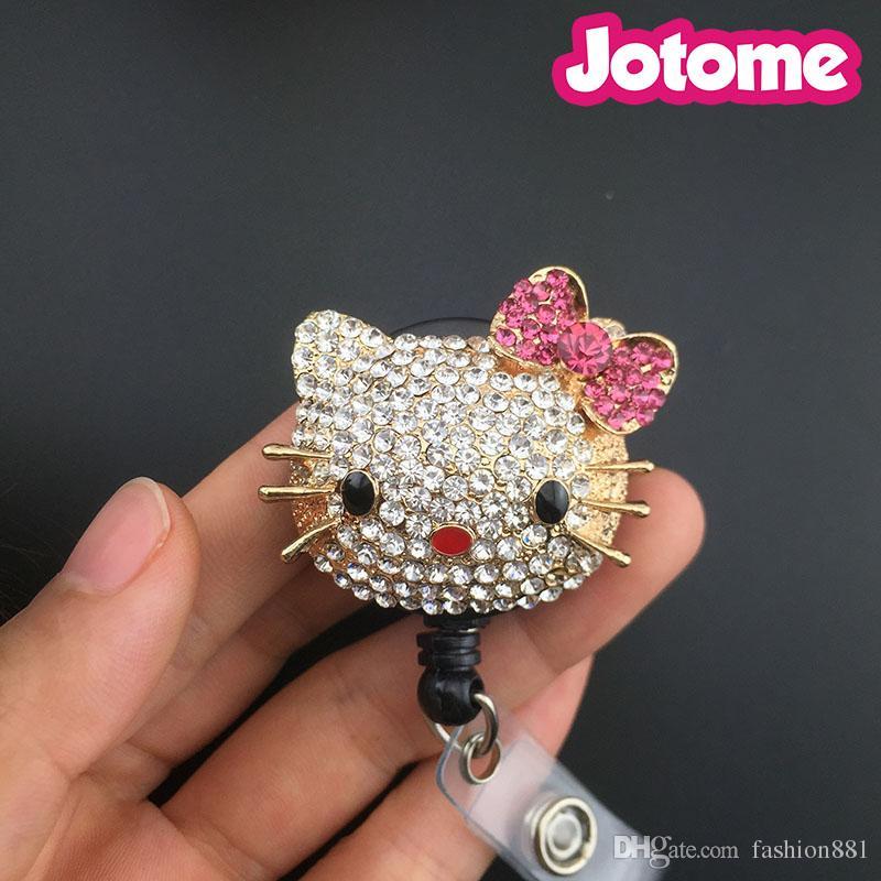 New Retractable Reel Bling ID Badge Holder handmade Rhinestones Small Pink Bow