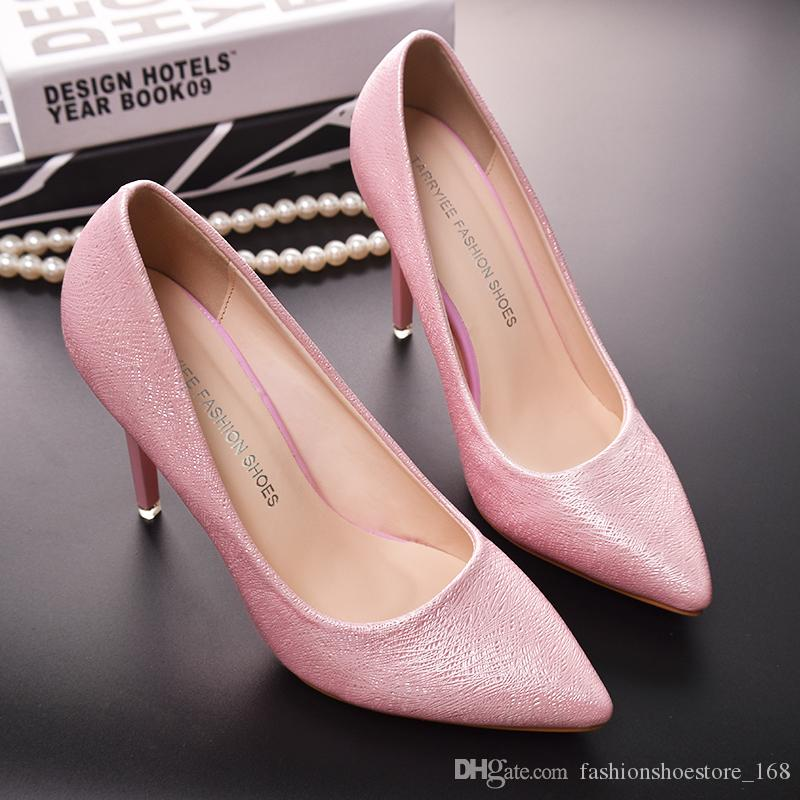New Woman Pumps Wedding Shoes Fashion Sexy Classic High Heels Pointed Toe Sweet Party Dress Shoes Free shipping