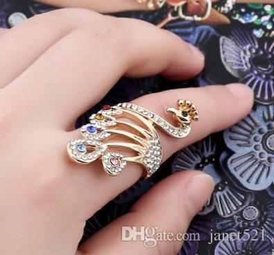 Personality Phoenix Womens Band Rings Gold Tone Different Color Rhinestone Fashion Jewelry Womens Rings
