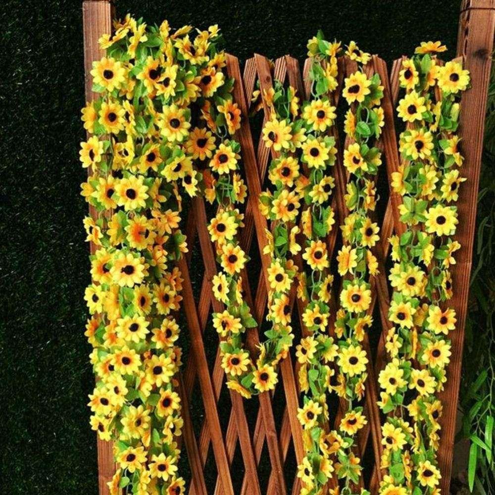 덩굴 아이비 잎 식물 홈 웨딩 파티 장식 인공 노란색 해바라기 화환 실크 웨딩 꽃 아치 전망대 장식 2 개