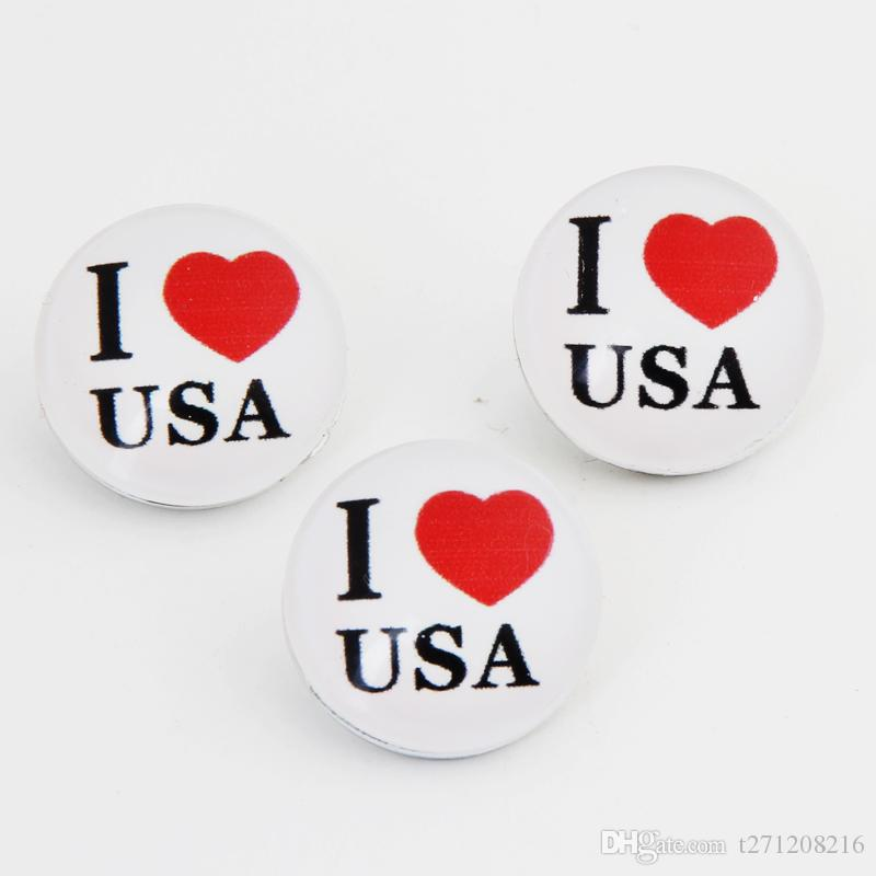 8 Style I Love USA CAN UK AU FRA GER NY BEL Snap Buttons 18mm Glass