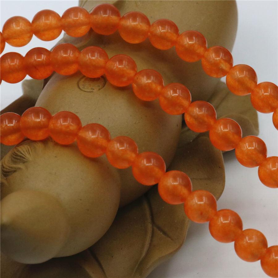 4mm 6mm 8mm 10mm 12mm Accessoire Orange Cristal De Jade En Pierre Perles Lâches Jasper Jade Ronde En Gros Fabrication De Bijoux Cadeaux 15 pouces