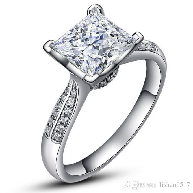 Luxury Pure Silver Wedding Rings China Brand Jewelry SONA Zirconia Diamond 925 Sterling Silver Engagement Rings for Women