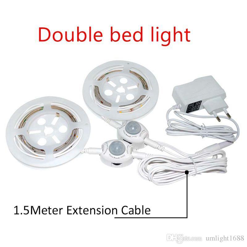 30LED Bettlicht mit Bewegungsmelder Bett Lichtleiste Nachtlicht Streifen Dimmbar