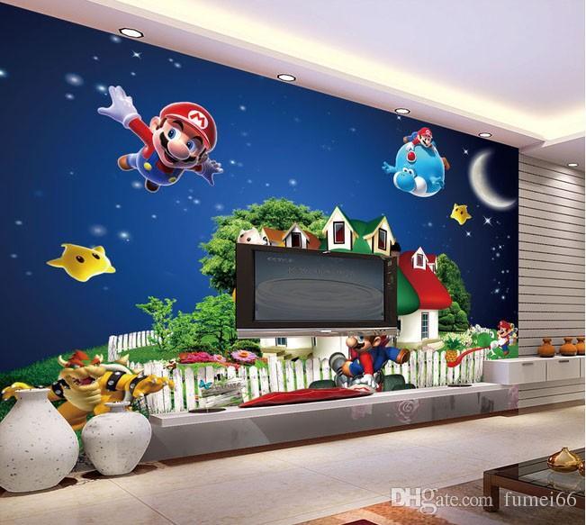 Großhandel Großhandel Super Mario Wandbild 3d Cartoon Wandbild 3d Wandbild  Tapete Für Kinder Kinder Baby Zimmer 3D Wandbilder Fresco Wandaufkleber Von  ...
