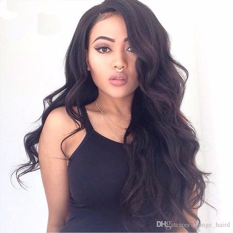 Hot Sale Glueless Full Lace Wigs With Baby Hair Virgin Peruvian Human Hair Wavy Lace Front Wigs For Black Women