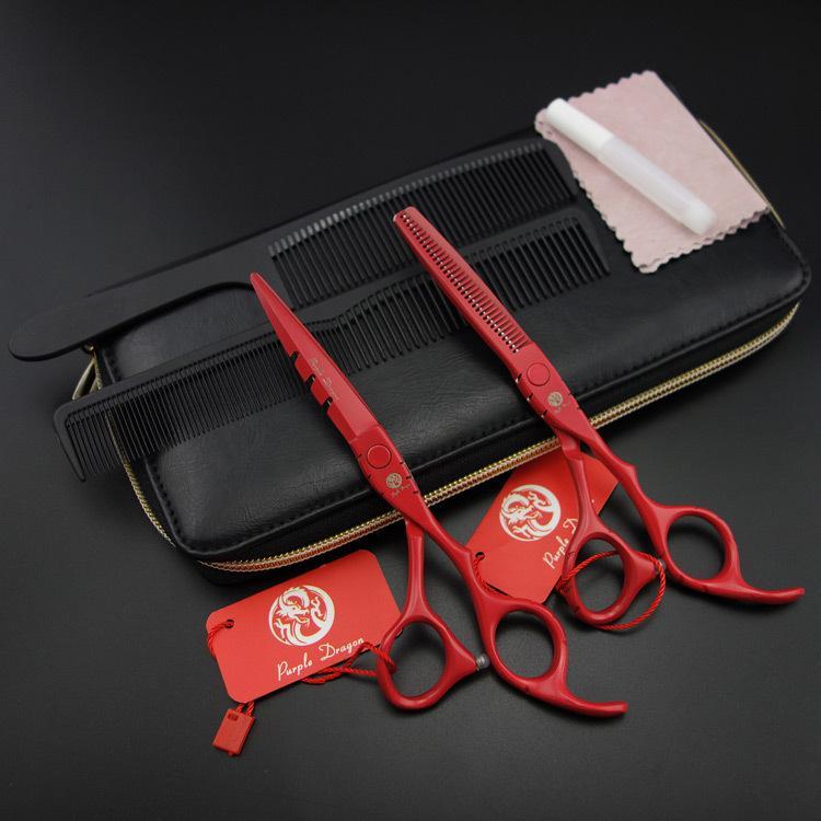 """Wholesale- 5.5 """"/6.0"""" Viola-Drago Professionale Forbici per capelli set, taglio Thinning forbici barbiere cesoie S396"""