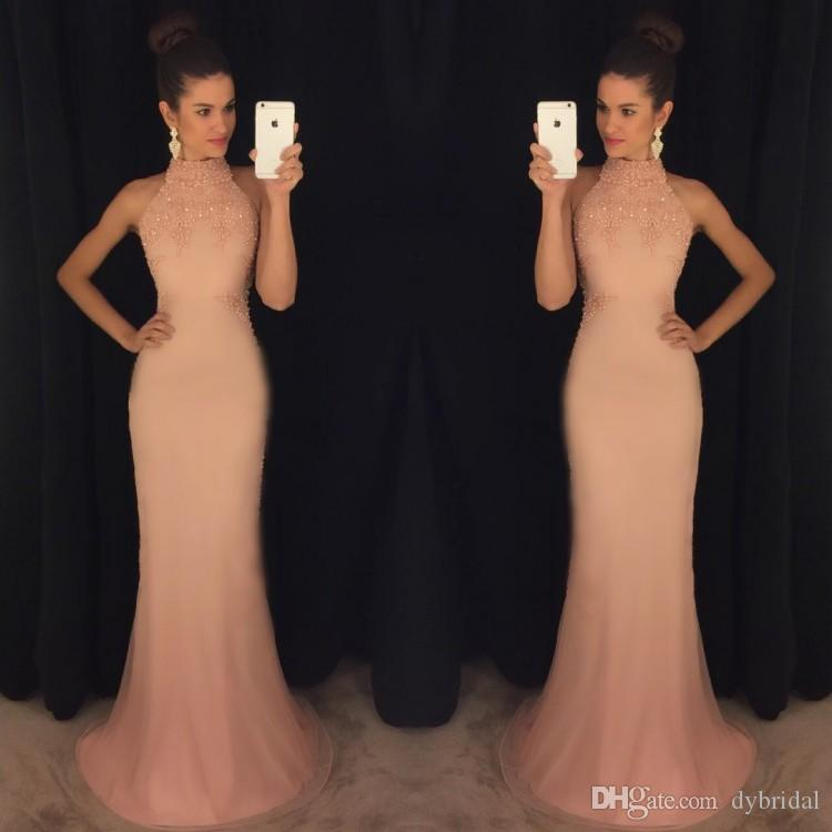 2018 sexy cheap evening dress robe de soiree high neck lace gold prom dresses mermaid