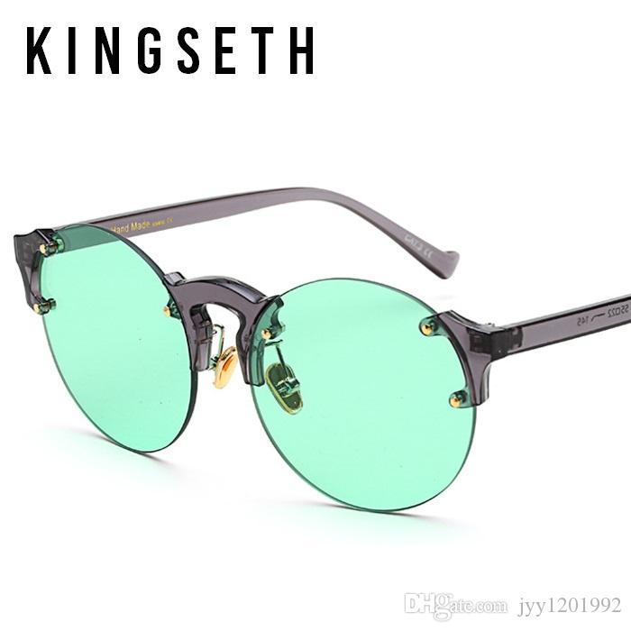 KINGSETH 2020 Nouvelle Arrivée Hommes Lunettes de soleil de haute qualité Semi Rimless Lunettes rondes Mode Femmes Lunettes de soleil UV400 unisexe