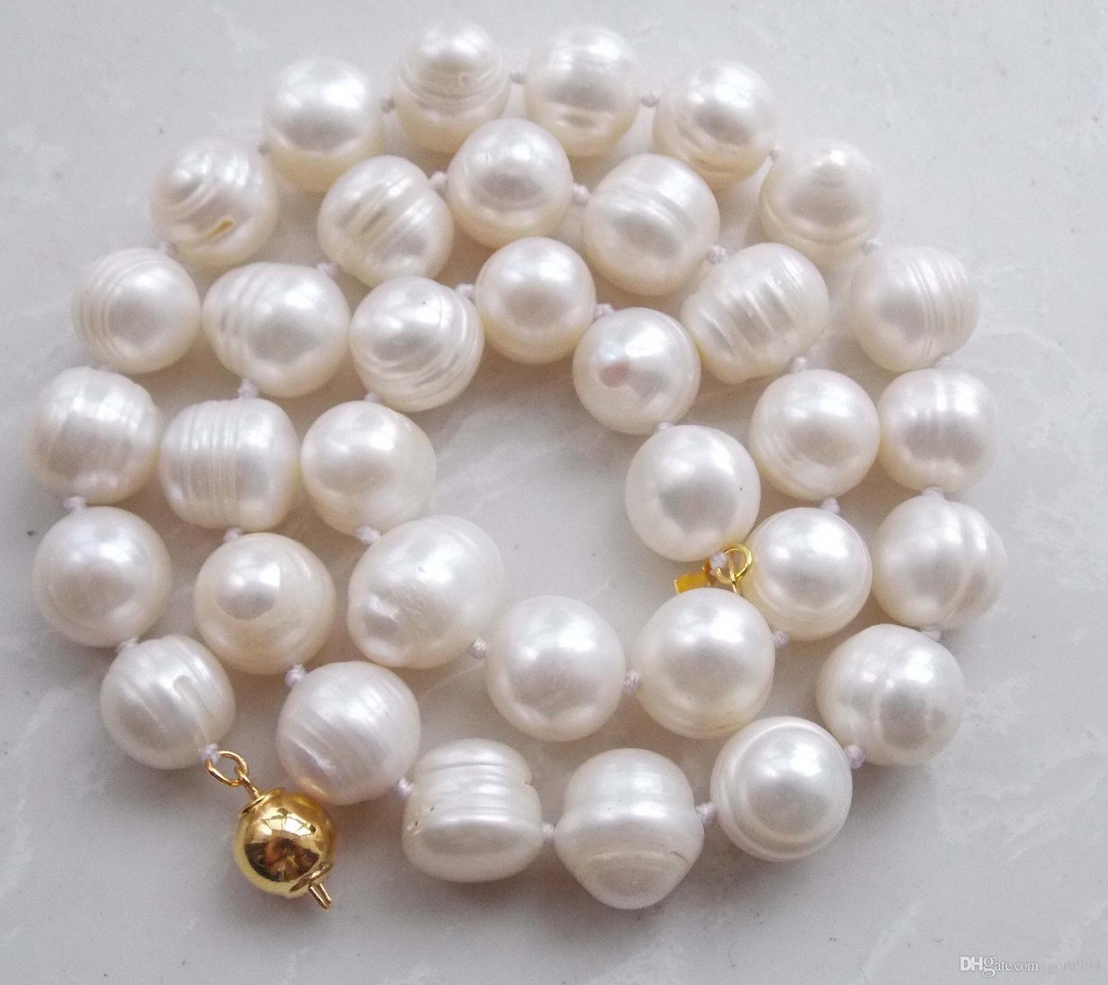 m640 Real 14k solid gold clasp 11-12mm White Cultured Akoya Necklace 18''