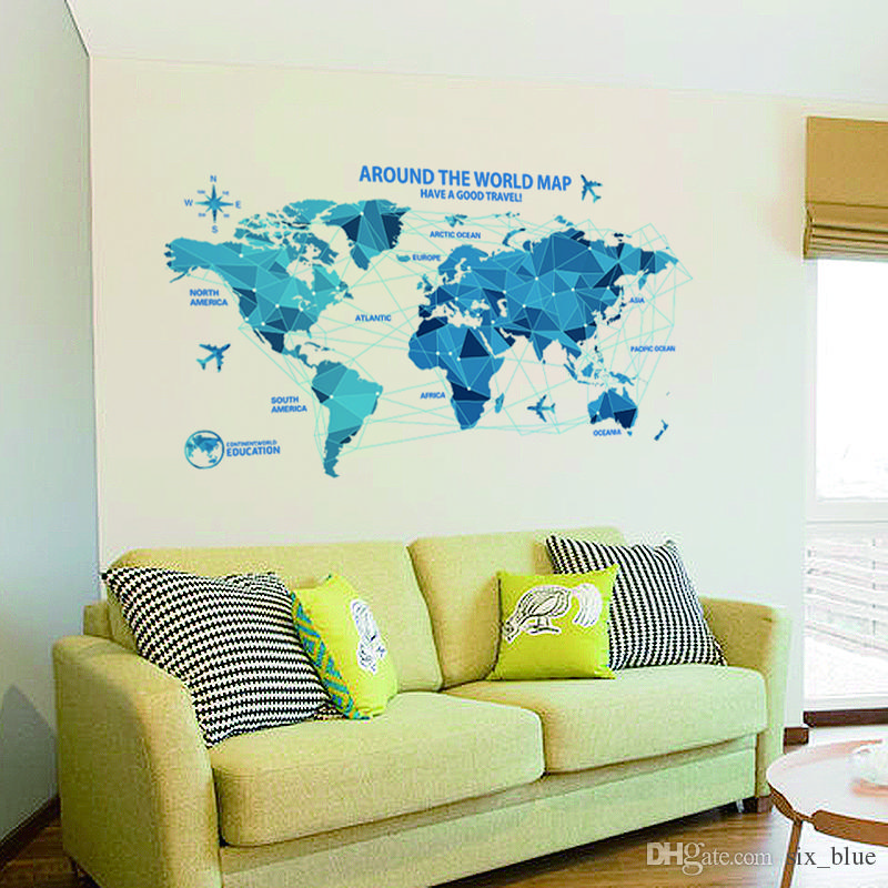 Waterproof 3d World Map Wall Stickers Science Rooms Decals Home Decor Creative Wall Art Bedroom Home