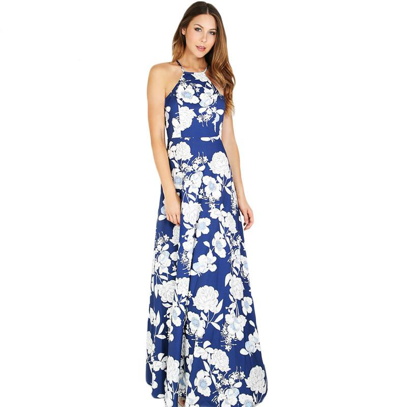SheIn Damen Sommer Maxi Kleider Neue Ankunft Damen Boho Kleid ärmellos Blau Neckholder Blumendruck Vintage A-Linie Kleid