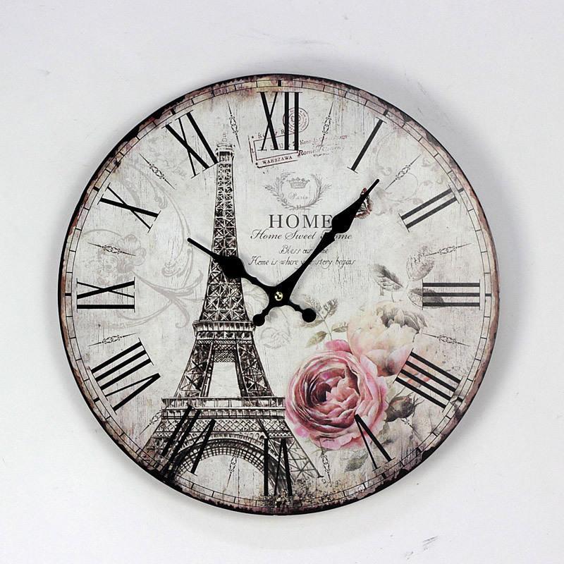 Wholesale- 35CM Paris Eiffel Tower British Style Wood Wall Clocks Coffee Shop Restaurant and Bar Circular Digital Needle Clock Home Decor