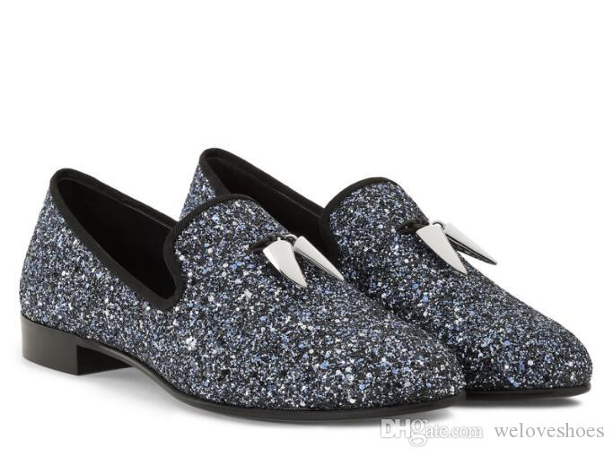 2017 Men Glitter Loafers Sequined