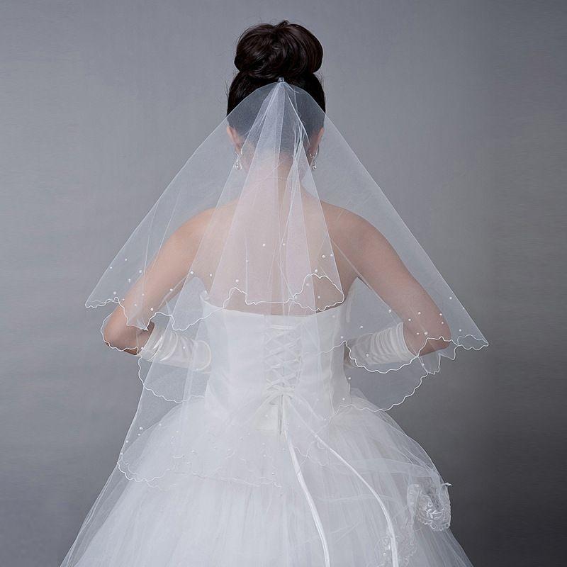 2017 New Wedding Veils Wedding Bridal Veils Pearl Ivory white Tulle Veils Bride wedding accessories