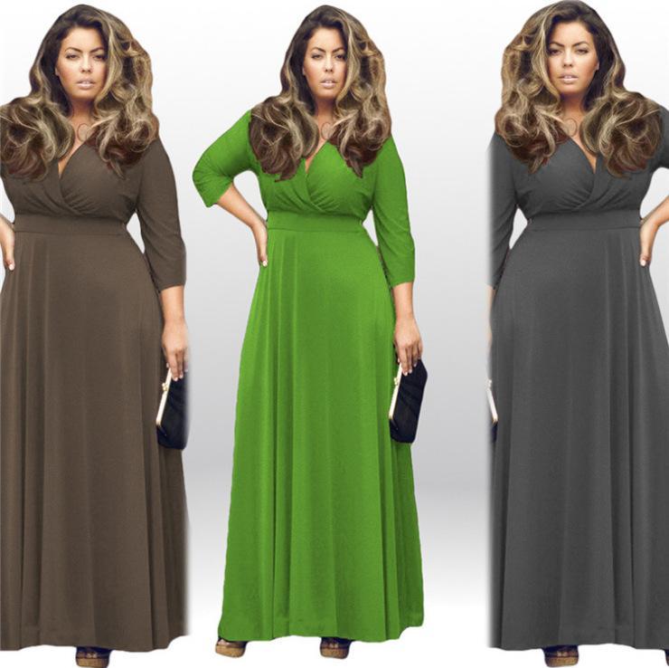 Buyter (TM) Plus La Taille L-XXXXL Femmes Sexy D'été Maxi Solide Col V Trois-quarts Manche Robe De Soirée Élégante