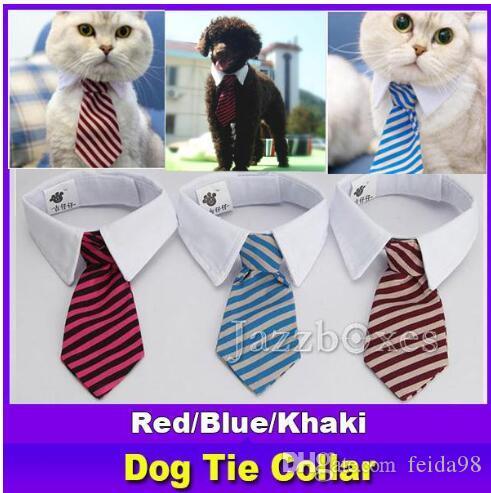 NIEUW PET HOND Gestreepte Tie Kraag Kat Boog Leuke Hond Stropdas Bruiloft Verstelbare Puppy Rood / Blauw / Khaki Gratis verzending