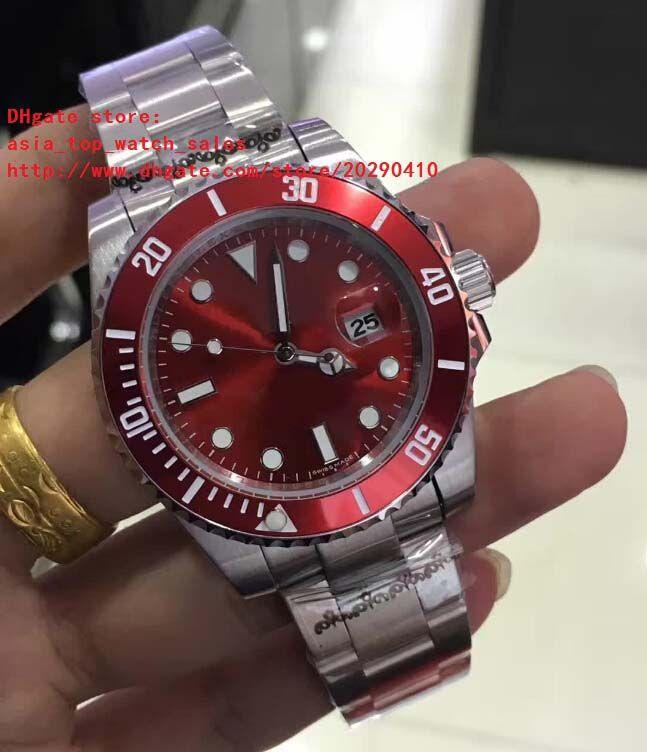 última versión Reloj de alta calidad Asia 2813 Movimiento 40 mm Red dial de cerámica 116610 16610 Reloj de pulsera mecánico automático para hombre
