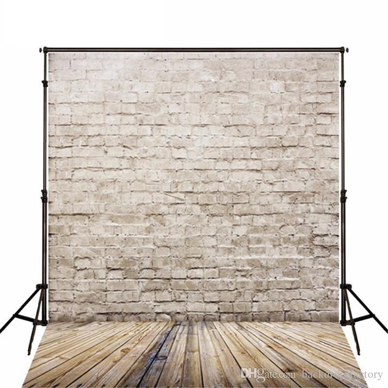 5x7ft Tijolo Fotografia Pano De Fundo De Madeira Chão Recém-nascido Estúdio Shoot Adereços Crianças Parede Do Vintage Texturizado Foto de fundo