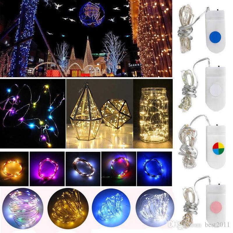 2 متر 20 المصابيح الجنية أضواء 20 مايكرو starry ضوء cr2032 زر بطارية تعمل الفضة النحاس سلسلة لعيد الميلاد زينة الزفاف