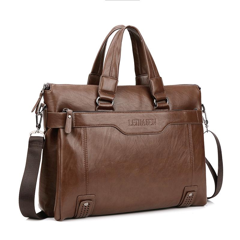 Wholesale- New Promotion Simple Dot Business Men Briefcase Bag Leather Laptop Bag Men 's leisure package bolsa maleta