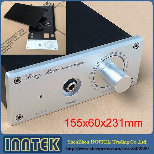 Freeshipping DIY Alüminyum Muhafaza / Amplifikatör durumda / E3 Için Amp kasa / E4 Kulaklık amplifikatör (155x60x231mm