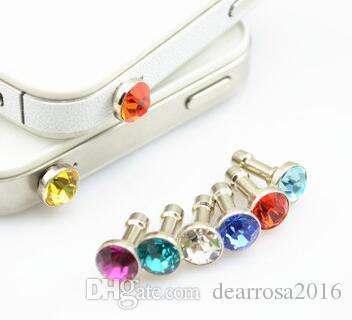 100 teile / los mode anti-staub gadgets luxus telefon zubehör kleine diamant strass 3,5mm staubstecker kopfhörer stecker für handys