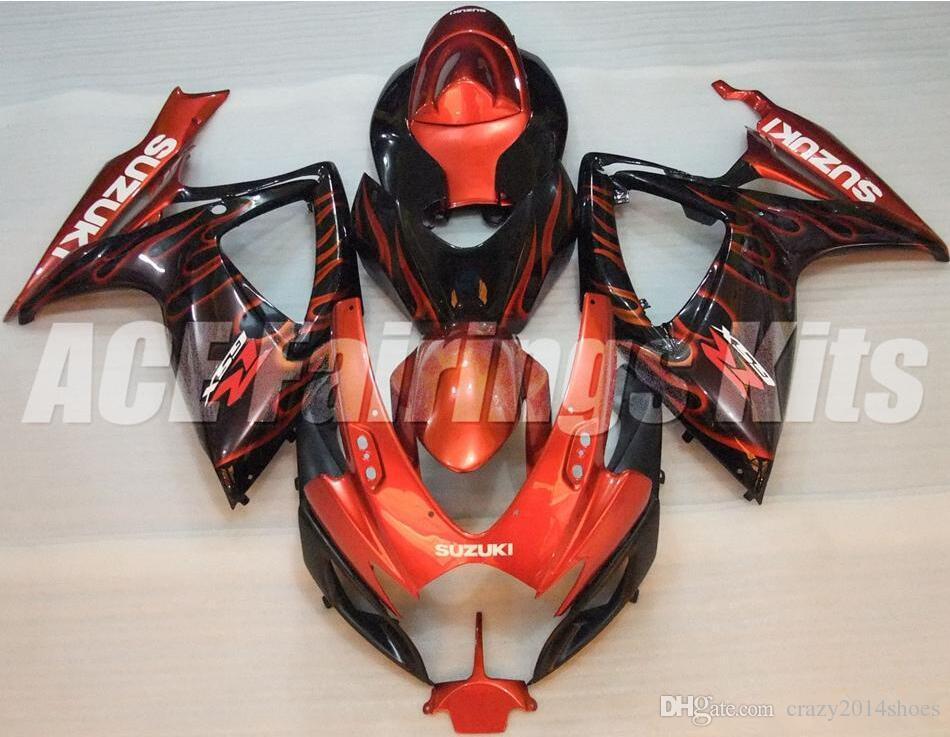 Cadeaux gratuits + Seat Cowl Nouveau kit carénage de vélo pour SUZUKI GSXR 600 750 K6 06 07 GSXR-600 GSXR750 GSXR600 GSXR-750 2006 2007 bon orange noir